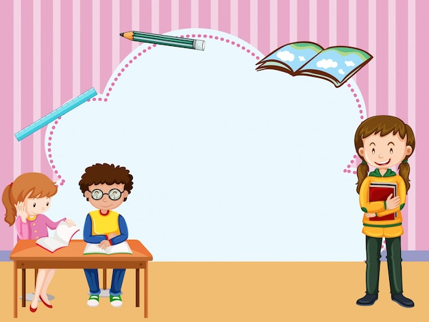 Border Template With Kids Learning In Classroom Vector