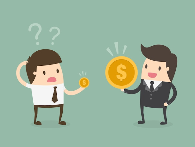 Boss and employee with coins Free Vector