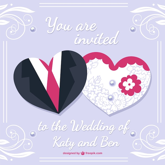 Bride And Groom Wedding Card Desing Free Vector