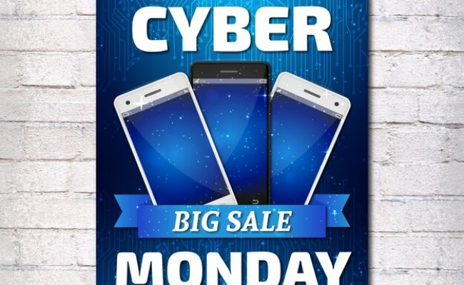 Brochure With Three Smartphones For Cyber Monday Vector