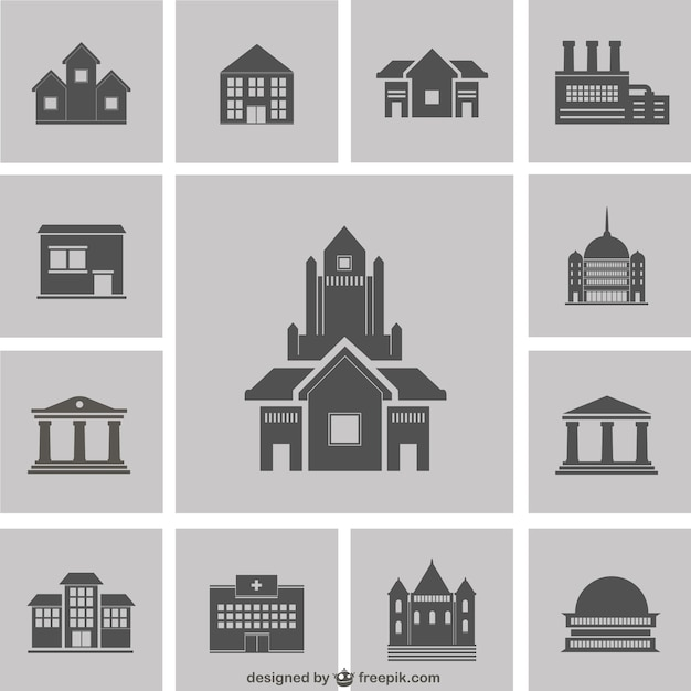 Building Silhouettes Pack Vector Free Download