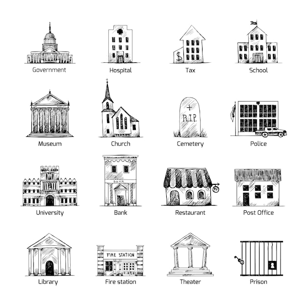 Buildings Icons Collection Vector Premium Download