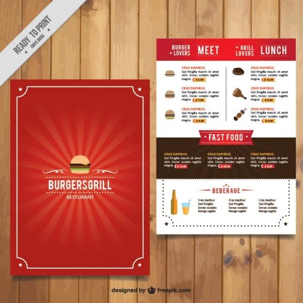 Burguer bar red menu template Vector | Free Download