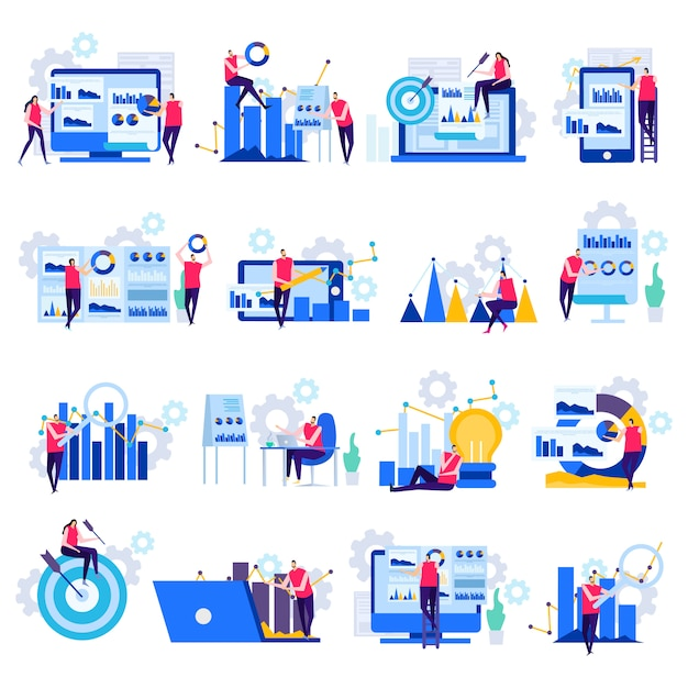 Free Vector Business Analytics Flat Icons