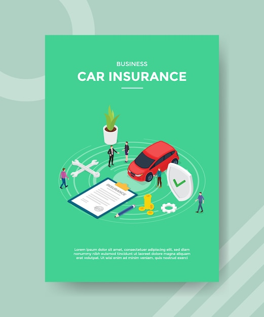 Download right here and now! Free Vector Business Car Insurance Flyer Template