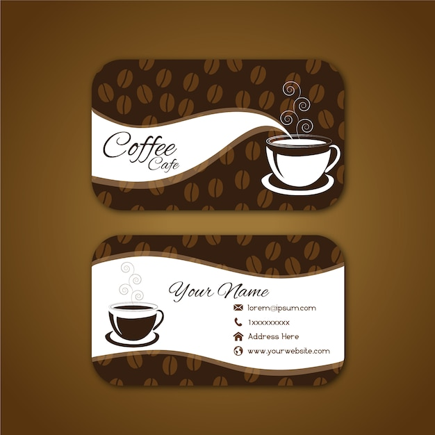 Business card with coffee design Free Vector
