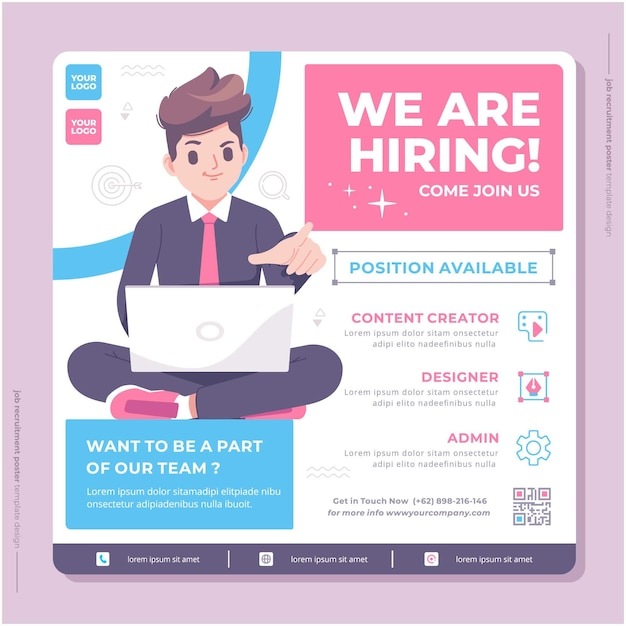Select the template you like the most for your job vacancies. Premium Vector Business Jobs Hiring Poster Template Design