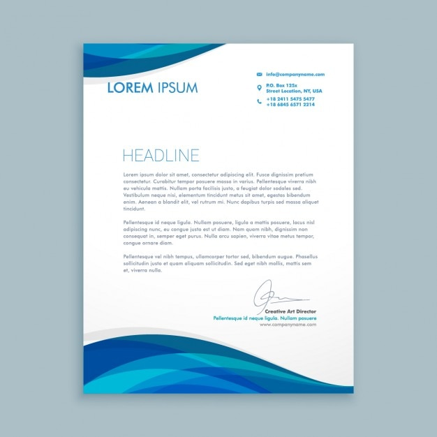 Business Letter With Blue Waves Vector Free Download