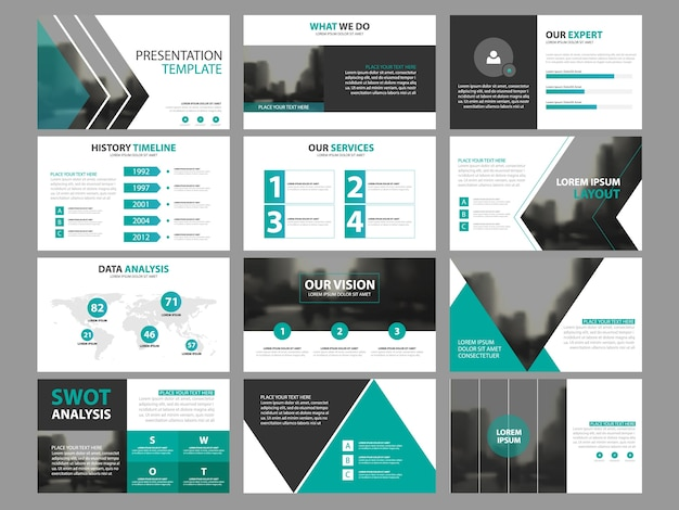 Business presentation infographic elements template set annual report corporate horizontal
