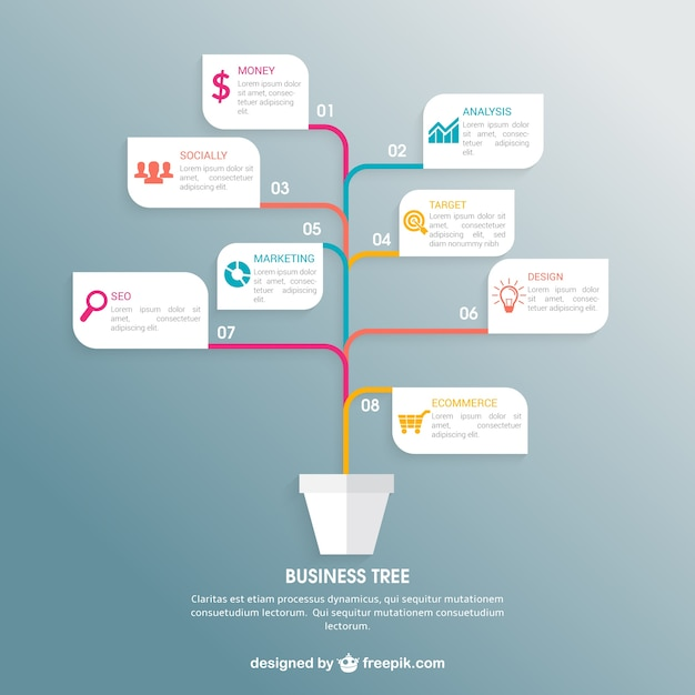 Business Tree Infographic Vector Free Download