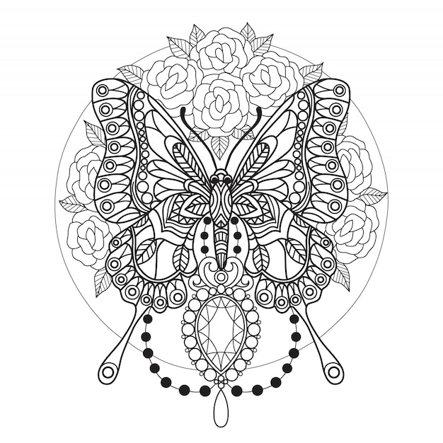 Butterfly and diamonds coloring page for adults Vector