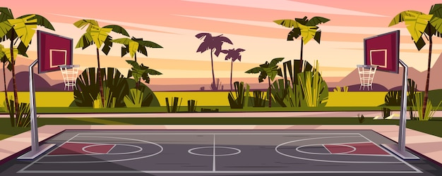 Free Vector Cartoon background of basketball court on street outdoor sport arena with baskets for game