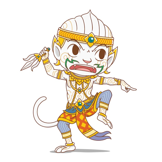 Premium Vector Cartoon Character Of Hanuman King Monkey Character In Thailand S Rammakian Epic