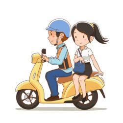 Premium Vector | Cartoon character of motorcycle taxi rider and the girl  riding pillion on a motorcycle taxi.