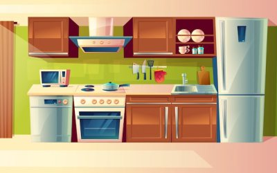 Free Vector Cartoon cooking room interior kitchen counter with appliances