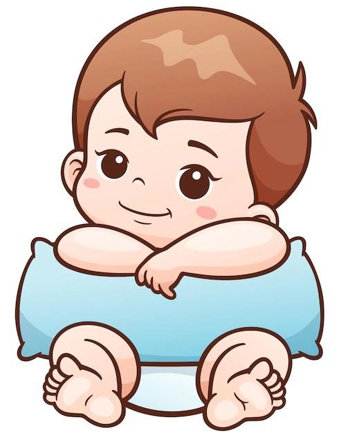 Baby Cartoon Pictures : cartoon, pictures, Premium, Vector, Cartoon, Pillow