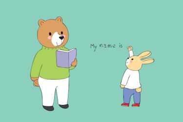 Premium Vector Cartoon cute teacher bear and student rabbit in classroom
