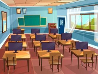 Free Vector Cartoon empty high school college university computer science classroom background