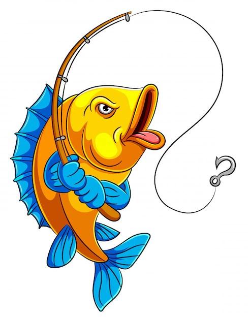 Fishing Pictures Cartoon : fishing, pictures, cartoon, Premium, Vector, Cartoon, Holding, Fishing