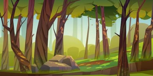 Free Vector Cartoon forest background nature park landscape