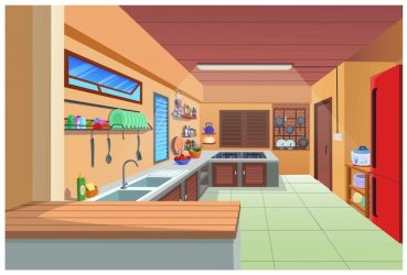Premium Vector Cartoon image of the kitchen for cooking