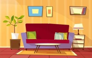 cartoon living background vector interior cozy apartment template concept