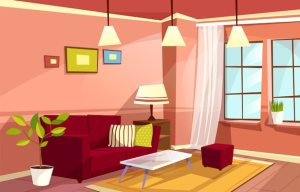 cartoon living background cozy interior apartment vector template freepik concept
