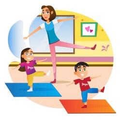 Premium Vector Cartoon mother with children doing exercise on mat