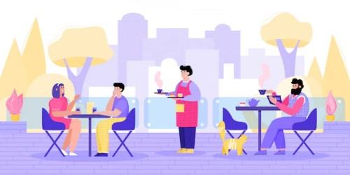 Premium Vector Cartoon people in street cafe outdoor seating area of city restaurant