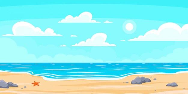 Premium Vector Cartoon Summer Beach Paradise Nature Vacation Ocean Or Sea Seashore Seaside Landscape Background Illustration
