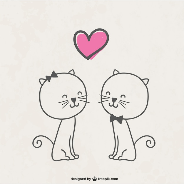Download Free Vector | Cats in love