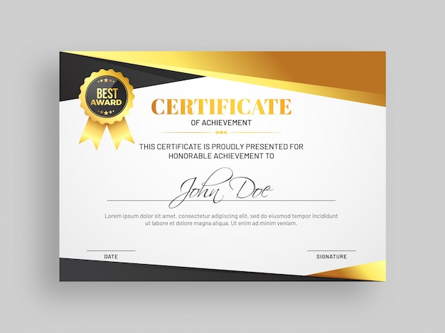 achievement certificate template free
