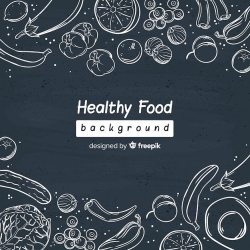 Free Vector Chalk fresh food background