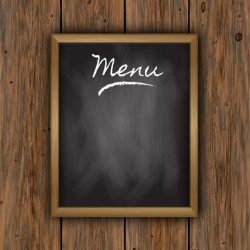Free Vector Chalkboard menu on a wooden background