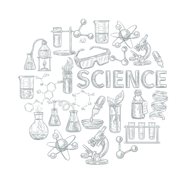 Chemistry sketch concept with school learning and science