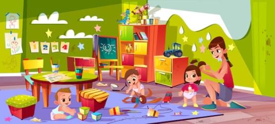 Free Vector Children in nursery school cartoon vector