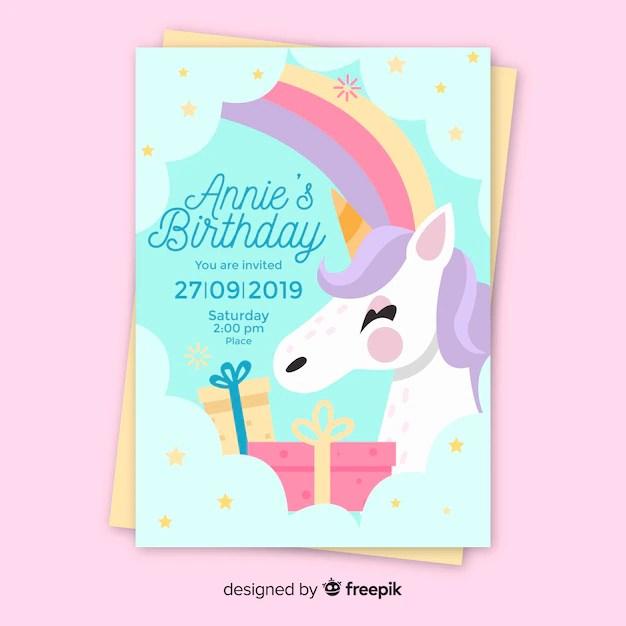 birthday invitation template with unicorn