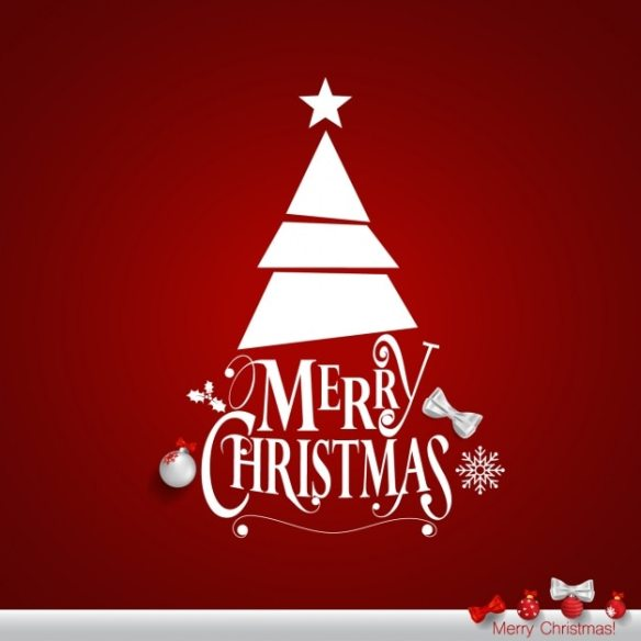 Red and White Modern Christmas Tree Merry Christmas Free Vector Design