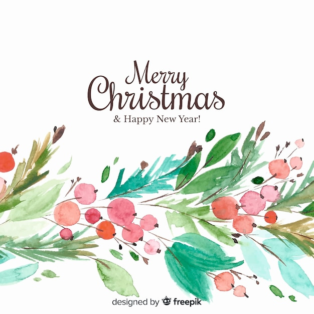 Christmas background in watercolor design Free Vector