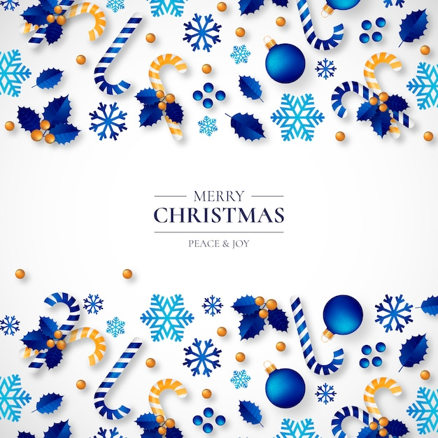 Christmas Background with Beautiful Realistic Ornaments Free Vector
