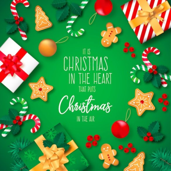 Christmas Background with Presents and Quote Free Vector