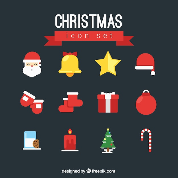 Christmas Color Icon Set Vector Free Download