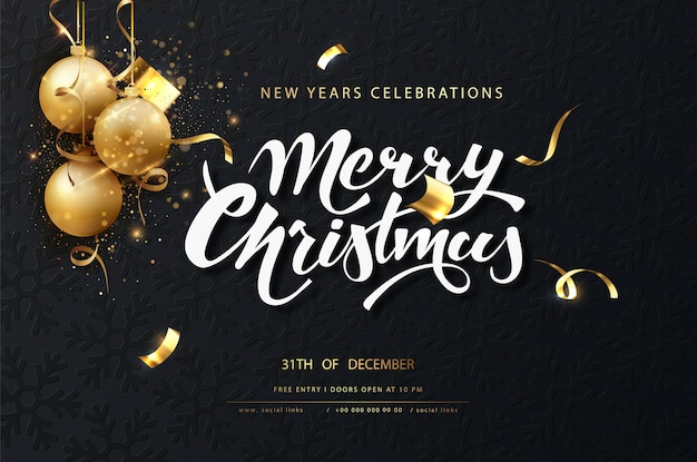 Christmas festive dark card. dark christmas background with golden balls, garlands, sparkles and new year lights Free Vector