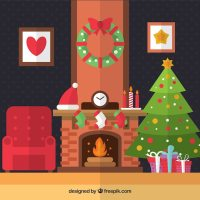 Christmas living room in flat design Vector | Free Download