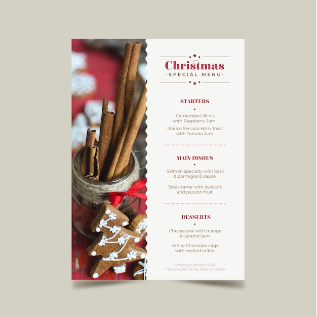 Christmas menu template with picture Free Vector
