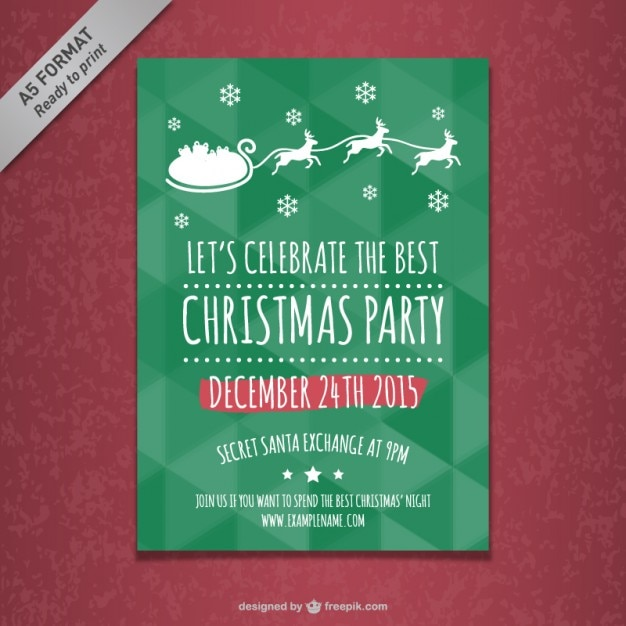 Christmas Party Poster Template Vector Free Download