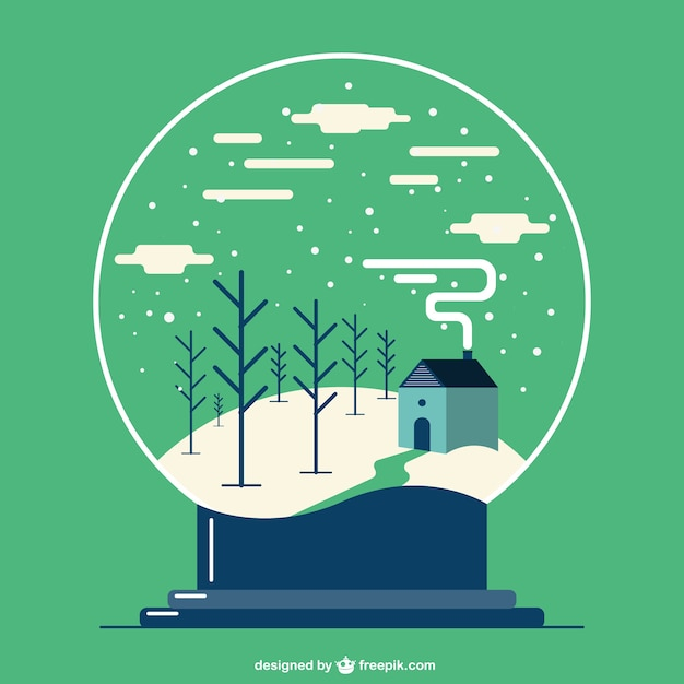 Christmas Snowball Globe With Winter Landscape Vector