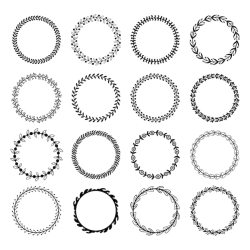 Premium Vector Circle leaf frames floral leaves round frame flower ornament circles and flowers circled border isolated set