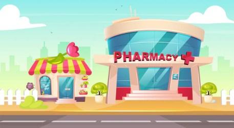 background drugstore cartoon vector pharmacy premium cityscape nobody sidewalk entrance exterior outside flower glass building illustration center cute front municipal