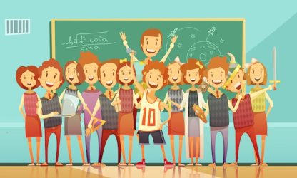 Free Vector Classic school education classroom retro cartoon poster with standing smiling kids